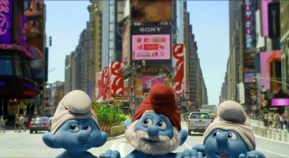 Grouchy, Papa and Clumsy Smurf in Columbia PIctures' THE SMURFS