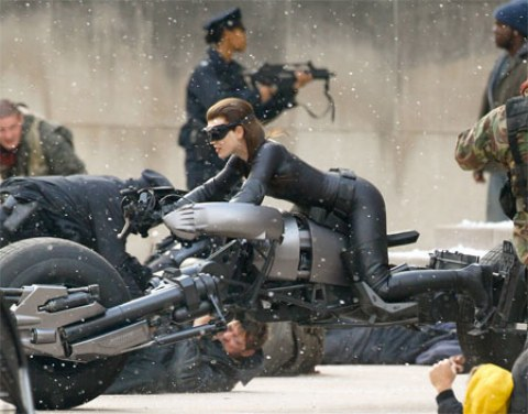 Anne Hathaway as Catwoman from The Dark Knight Rises set